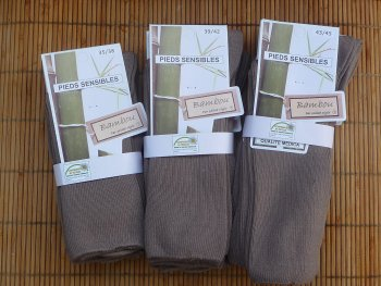 Chaussettes en bambou jambes sensibles (3 paires) - Taupe